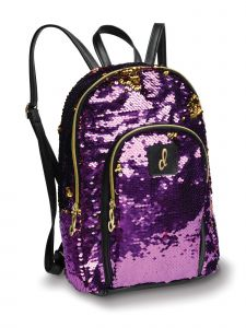 "Danshuz Girls Purple Gold Opalescent Sequin School Backpack 8""x11""x3.5"""