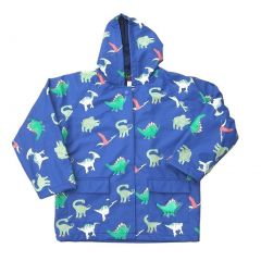 Big Boys Blue Dinosaurs Rain Coat 8-10