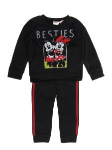 Disney Little Girls Black Minnie Mickey Besties Sweatshirt 2 Pc Jogger Set 2-4T