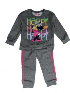 Disney Little Girls Gray Minnie Mouse Happy Sweatshirt 2 Pc Jogger Set 2-4T