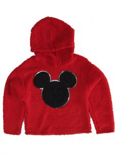 Disney Girls Red Black Mickey Mouse Fussy Hooded Soft Sweater 6-16
