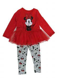 Disney Little Girls Red Minnie Print Long Sleeve 2 Pc Tutu Legging Set 2-4T