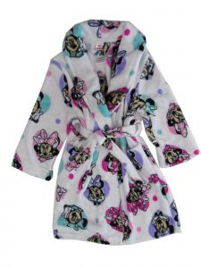 Disney Toddler Girls White Long Sleeve Minnie Mouse Robe 2T-4T