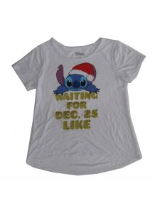 Disney Girls White Stich Waiting For Dec 25 Short Sleeve T-Shirt 6-16