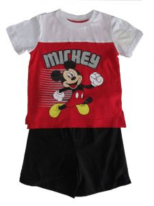 Disney Little Boys Red White Mickey Mouse Short Sleeve Outfit 2T-4T