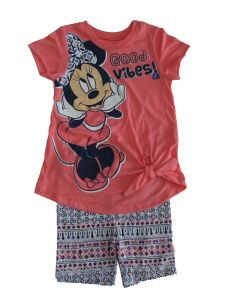 Disney Little Girls Coral Blue Minnie Mouse Short Sleeve Outfit 2T-6X