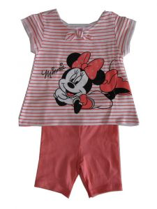 Disney Little Girls Coral White Minnie Mouse Short Sleeve Shorts Outfit 2T-4T