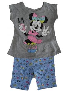 Disney Little Girls Grey Blue Minnie Mouse Short Sleeve Outfit 2T-6X