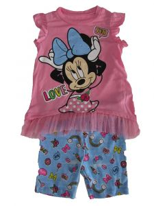 Disney Little Girls Pink Blue Minnie Mouse Short Sleeve Bike Shorts Outfit 2T-4T