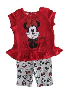 Disney Little Girls Red Grey Minnie Mouse Short Sleeve Outfit 2T-6X