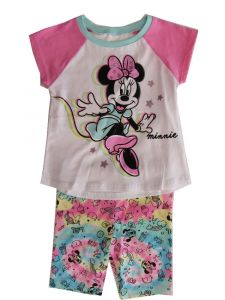 Disney Little Girls White Pink Minnie Mouse Short Sleeve Outfit 2T-6X