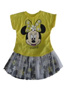 Disney Little Girls Yellow Black Minnie Mouse Tutu Outfit  2T-4T