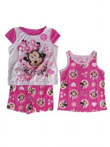 Disney Little Girls Pink Flower Minnie Mouse 3pc Pajama Set 2T-5T