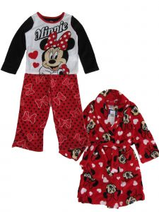 Disney Little Girls Red Black White Minnie Mouse 3pc Pajama Robe Set 4-8