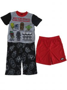 Disney Boys Boys Red Black Star Wars 3pc Top Pants Shorts Pajama Set 8-10