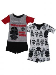 Disney Little Boys Red Black Star Wars Darth Vader 2pk Pajama 2pc Short Sets 4-6