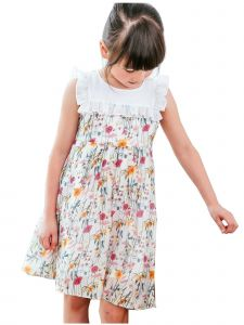 Bunny N Bloom Big Girls White Floral Print Ruffle Tiered Cotton Dress 7-12Y