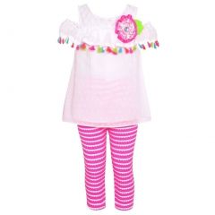 Rare Editions Baby Girls White Multi Tassel Adorned 2 Pc Leggings Outfit 12-24M