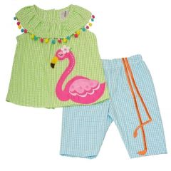 Rare Editions Little Girls Lime Blue Checkered Flamingo 2 Pc Pants Outfit 2T-6X