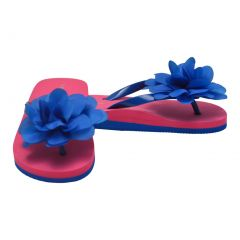 L`Amour Little Girls Royal Blue Organza Flower Flip Flops 8-10 Toddler