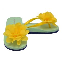 L`Amour Little Girls Yellow Organza Flower Flip Flops 8-10 Toddler