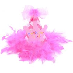 Counting Daisies Baby Girls Pink Chevron Stripe Faux Bow Birthday Party Hat