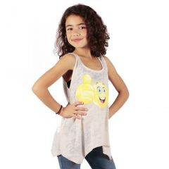 Lori&Jane Girls Cream Yellow Emoticon Print Hanky Hem Trendy Tank Top 6-14