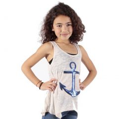 Lori&Jane Girls Cream Royal Blue Anchor Detail Hanky Hem Tank Top 6-14
