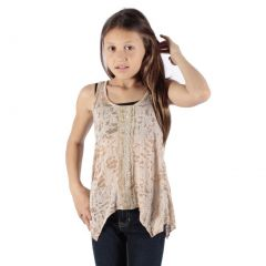 Lori&Jane Girls Tan Embroidered Detail Hanky Hem Trendy Tank Top 6-14