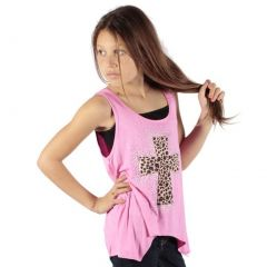Lori&Jane Girls Pink Tan Leopard Glitter Cross Hanky Hem Tank Top 6-14
