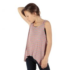 Lori&Jane Girls Pink Grey Stripe Pattern Hanky Hem Trendy Tank Top 6-14