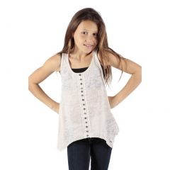 Lori&Jane Girls White Button Placket Detail Hanky Hem Trendy Tank Top 6-14