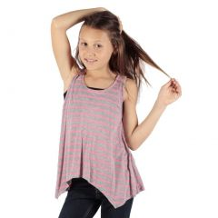 Lori&Jane Girls Pink Grey Stripe Printed Hanky Hem Trendy Tank Top 6-14