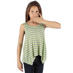 Lori&Jane Girls Green Stripe Pattern Hanky Hem Trendy Tank Top 6-14