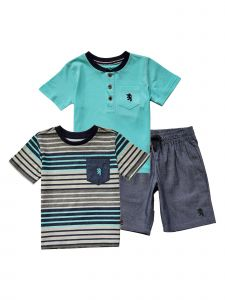 English Laundry Little Boys Multi Color 3 Piece T Shirt Shorts Set Outfit 4-7