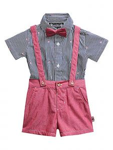 English Laundry Little Boys Engine Red 3 Piece Suspender Shorts Set Outfit 2-4T