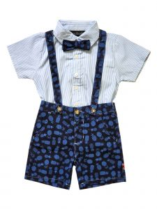 English Laundry Little Boys Navy 3 Piece Suspender Shorts Set Outfit 2-4T