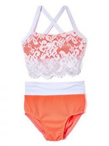 Elliewear Big Girls Coral Lace Overlay Top Brief 2 Pc Dance Set 7-14