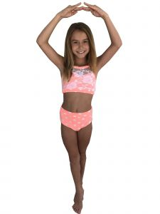 Elliewear Big Girls Coral Polka Dot Lace Top Brief 2 Pc Dance Set 7-12