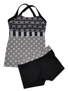 Elliewear Big Girls Gray White Polka Dot Skull Bone Top 2 Pc Shorts Set 7-14