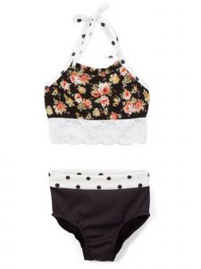 Elliewear Big Girls Black Multi Floral Crop Top Brief 2 Pc Dance Set 7-12