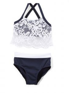 Elliewear Little Girls Navy White Lace Overlay Top Brief 2 Pc Dance Set 4-6