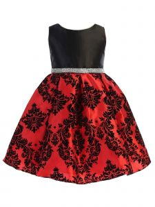 Ellie Kids Big Girls Black Satin Red Damask Flocked Christmas Dress 8-14