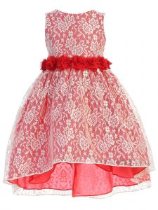 Ellie Kids Girls Multi Color Lace Rhinestone Sash High Low Easter Dress 2-14