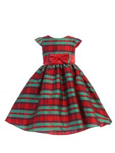 Ellie Kids Girls Red Green Plaid Taffeta Double Bow Christmas Dress 4-14