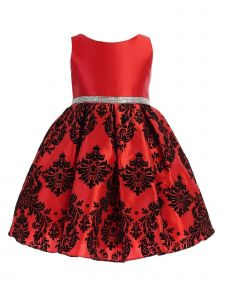 Ellie Kids Big Girls Satin Damask Flocked Tea Length Christmas Dress 4-14