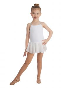 Elowel Big Girls White Basic Scoop Neck Skirted Camisole Tutu Leotard 6-14