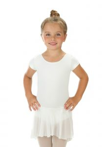 Elowel Big Girls White Ruffle Short Sleeve Stylish Skirted Leotard 6-14
