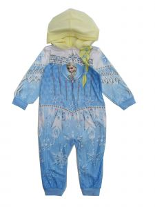 Disney Little Girls Light Blue Elsa from Frozen 1pc Hooded Zip Up Pajamas 2T-6