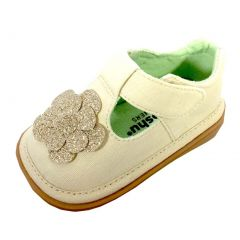 Mooshu Trainers Girls Ivory Glitter Flower T-Strap Shoes 3 Baby-9 Toddler